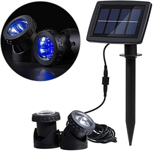 White Coolbuy112 Solar Power 12 LEDs Landscape Spotlight Projection Light with 2 Submersible Lamps for Garden Pool Pond Outdoor Decoration /& Lighting Underwater Light
