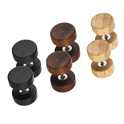 Fashion 8mm Wood Cheater Fake Ear Plugs Gauges Illusion Screw Stud Earrings 3pairs