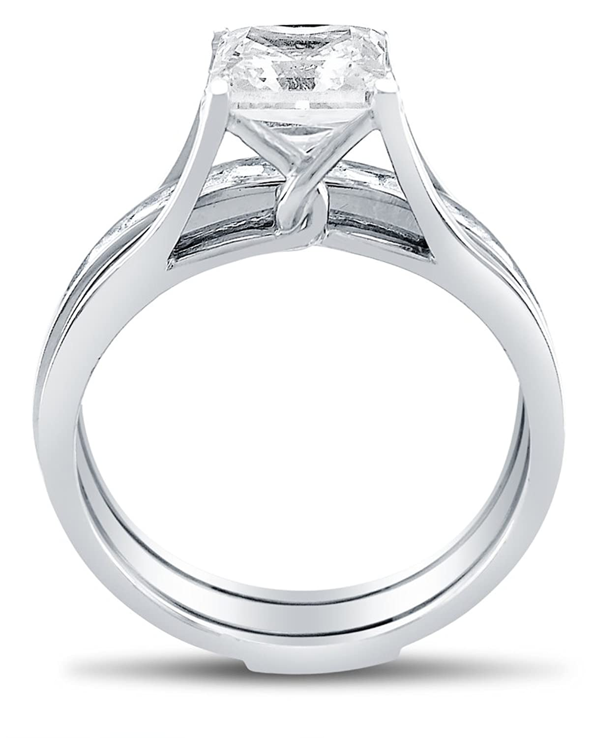 Amazoncom Solid 14k White Gold Bridal Set Princess Cut Solitaire