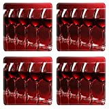 Liili Natural Rubber Square Coasters IMAGE ID: 12892097 Wineglasses on red background