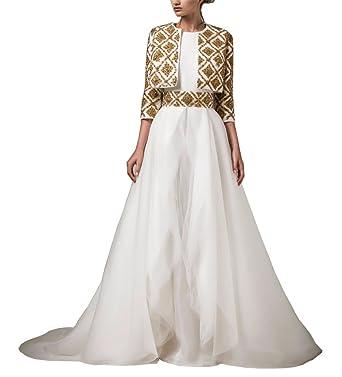 Tsbridal Gold Wedding Dresses With Jacket 3/4 Sleeves Wedding GownsXC398-Ivory2
