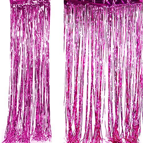 Anladia Shimmer Foil Glitter Metallic Backdrop Tinsel Curtain Fringe Wedding Party Decoration (Hot Pink) ()