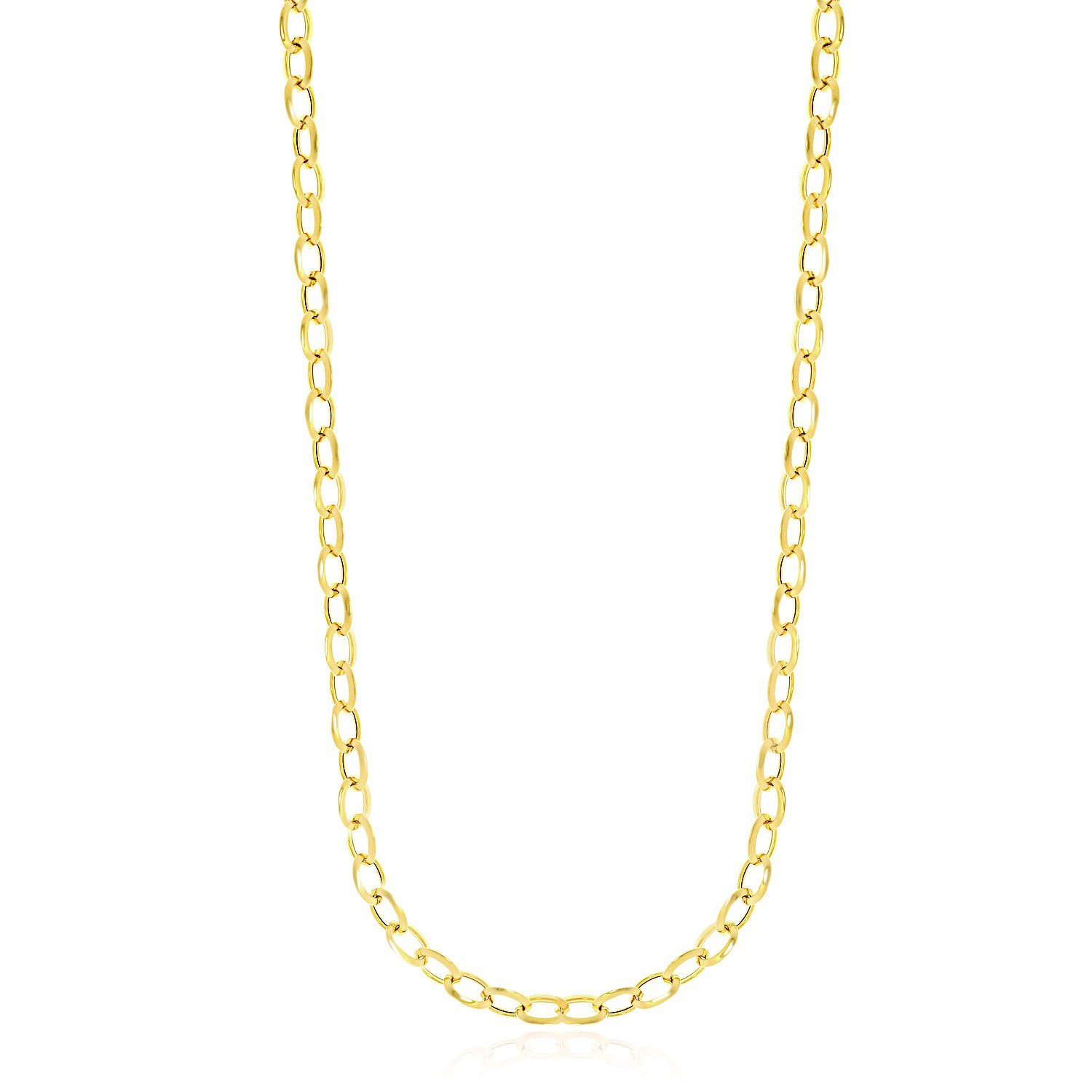 14K Yellow Gold Cable Chain Style Polished Necklace by Jewels By Lux