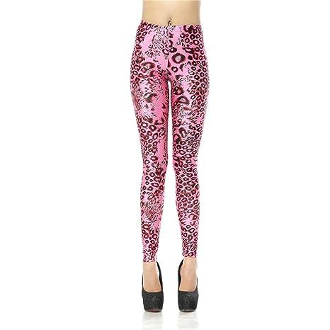 c88541ad4da33 M-ONEZOU Girl's Sexy Cute Pink Leopard Leggings 3D Printed Legging Women's  Leggings Fitness Pants