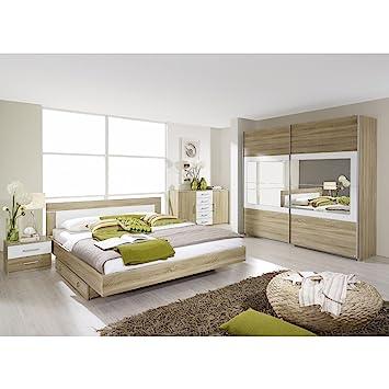 rauch Schlafzimmer-Set Venlo 6tlg. Eiche Sonoma Nb., Abs. weiß B/H/T ...