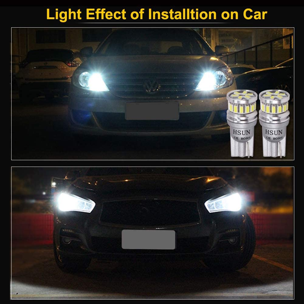 HSUN T10 194 LED Bulbs Xenon White 6000K Extremely Bright,161 168 2825 175 12961 W5W LED Bulbs For Interior Dome Reading Map Trunk Light Only,6 Pack