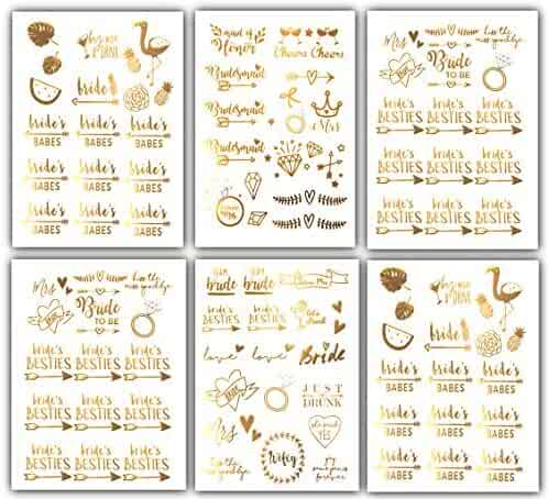 Team Bride Bachelorette Temporary Tattoos - 100 Bride Tribe Metallic Tattoos Gold Boho (6 Sheets) Bachelorettesy Zoe
