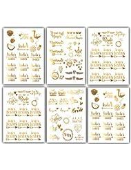Team Bride Bachelorette Temporary Tattoos - 100 Bride Tribe Metallic Tattoos Gold Boho (6 Sheets) Bachelorettesy Zoe