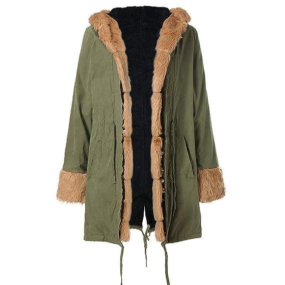 Amazon.com: Abrigo de invierno, piel exterior, trinchera ...