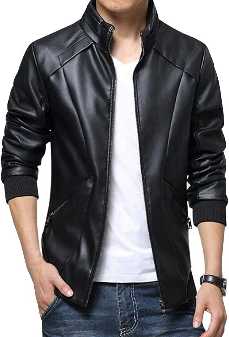 XQS Mens Stand Collar PU Faux Motocycle Jacket Leather Jacket