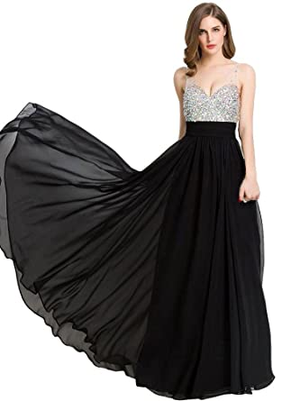 Beauty-Emily Long Prom Dresses 2017 Beaded Formal Evening Party Cocktail  Wedding Guest Gowns Black 12a355daa522