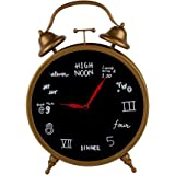 NIKKY HOME Vintage Decorative Metal Table Clock with Whimsical Numerals Unique Schedule Style, Brass