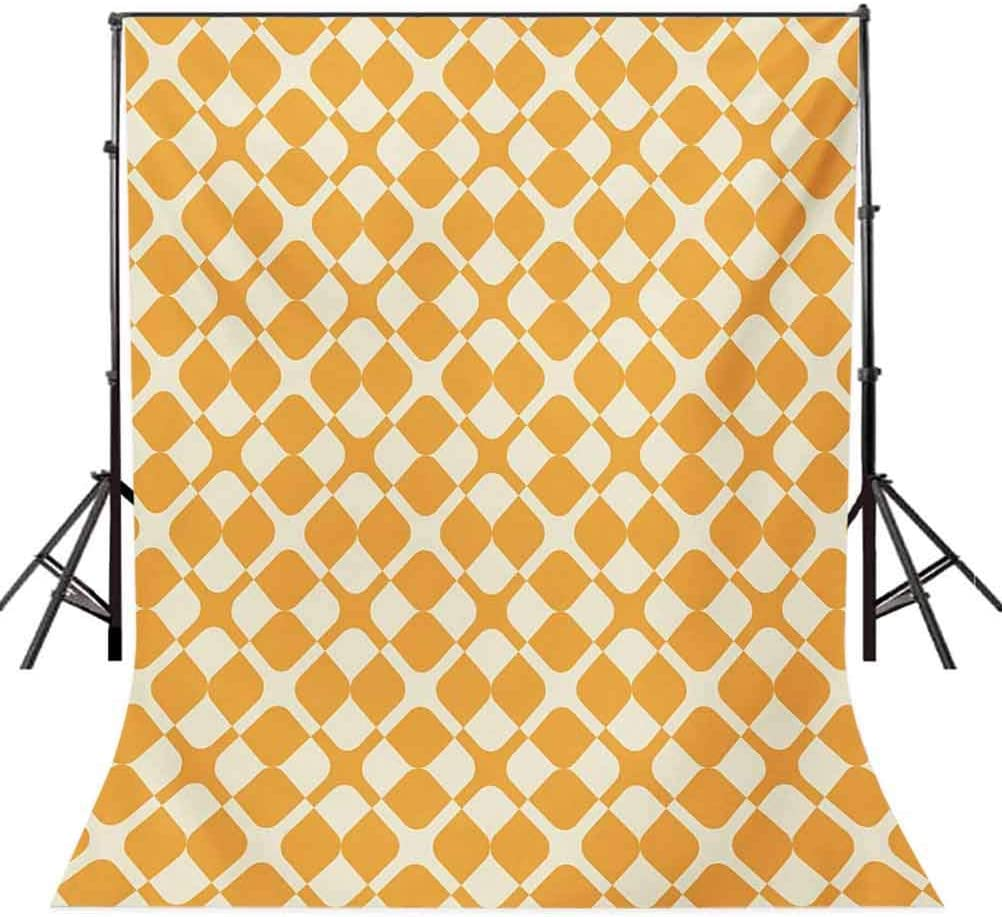Kids 10x15 FT Photography Backdrop Abstract Diagonal Checked Mosaic Pattern with Shabby Colored Squares and Lines Background for Baby Shower Bridal Wedding Studio Photography Pictures Marigold Cream