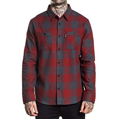 01a0ec49f4 Sullen Men's Checks Flannel Buttondown Shirts Black Red 2XL at ...