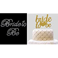 "D DOLITY""Bride to Be"" Rhinestone Sticker + Glitter Cake Topper Wedding Bachelorette"