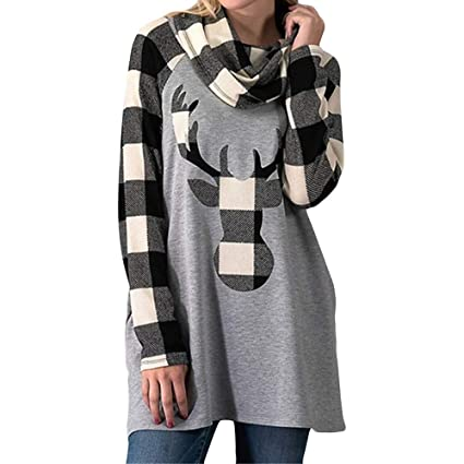 4721e5d0f63 Amazon.com   Dressin Womens Long Sleeve Lattice Christmas Elk Head ...