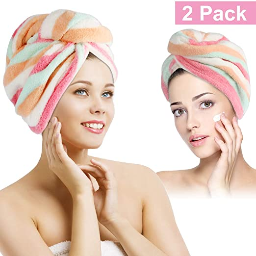 Duomishu Hair Turban Towels Set of 2 Pieces