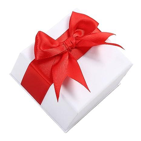 Leisial Cuadrado Caja Organizador de Joyero con Ribbon para Joyería Collar Pendientes Anillo Caja Regalo Cumpleaño