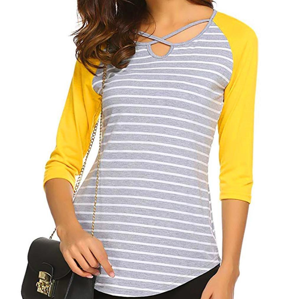 ❤ Tefamore Camiseta Mujer Tunic Tops Rayado Impreso Blusa 3/4 Manga T-Shirt Irregular Casual Pullover: Amazon.es: Ropa y accesorios
