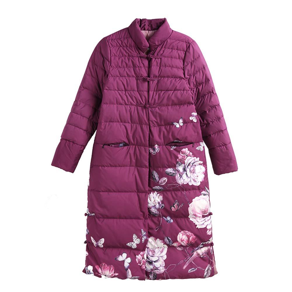 LQYRF Winter-Dame-chinesische Art-Retro- Schnallen-Druck-Stand-Kragen-purpurrote Daunenjacke-Lange gerade Starke 90% weiße Entendaunen-Frauen-Jacke