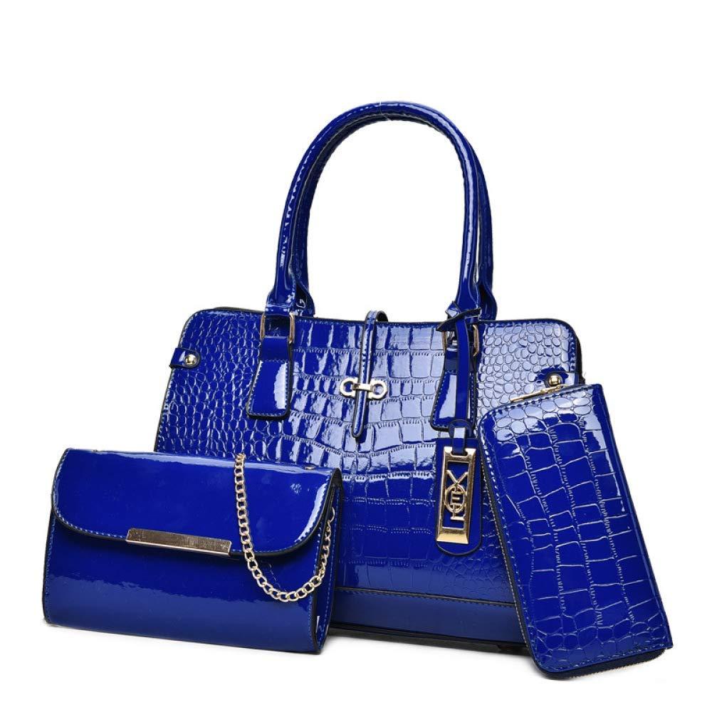 bluee Huasen Evening Bag Women's Shoulder Bag, Crocodile Sequin Holiday Shopping Tote Set of 3 Party Handbag (color   bluee, Size   One Size)