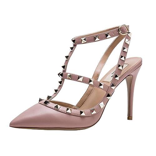 01295a52f26 Kaitlyn Pan Women s Leather Studded Slingback High Heel Pumps ...