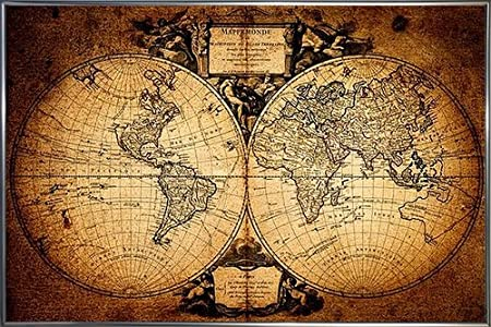 World map poster mappemonde 62 x 93 cm in anthracite metallic frame world map poster mappemonde 62 x 93 cm in anthracite metallic frame gumiabroncs Images