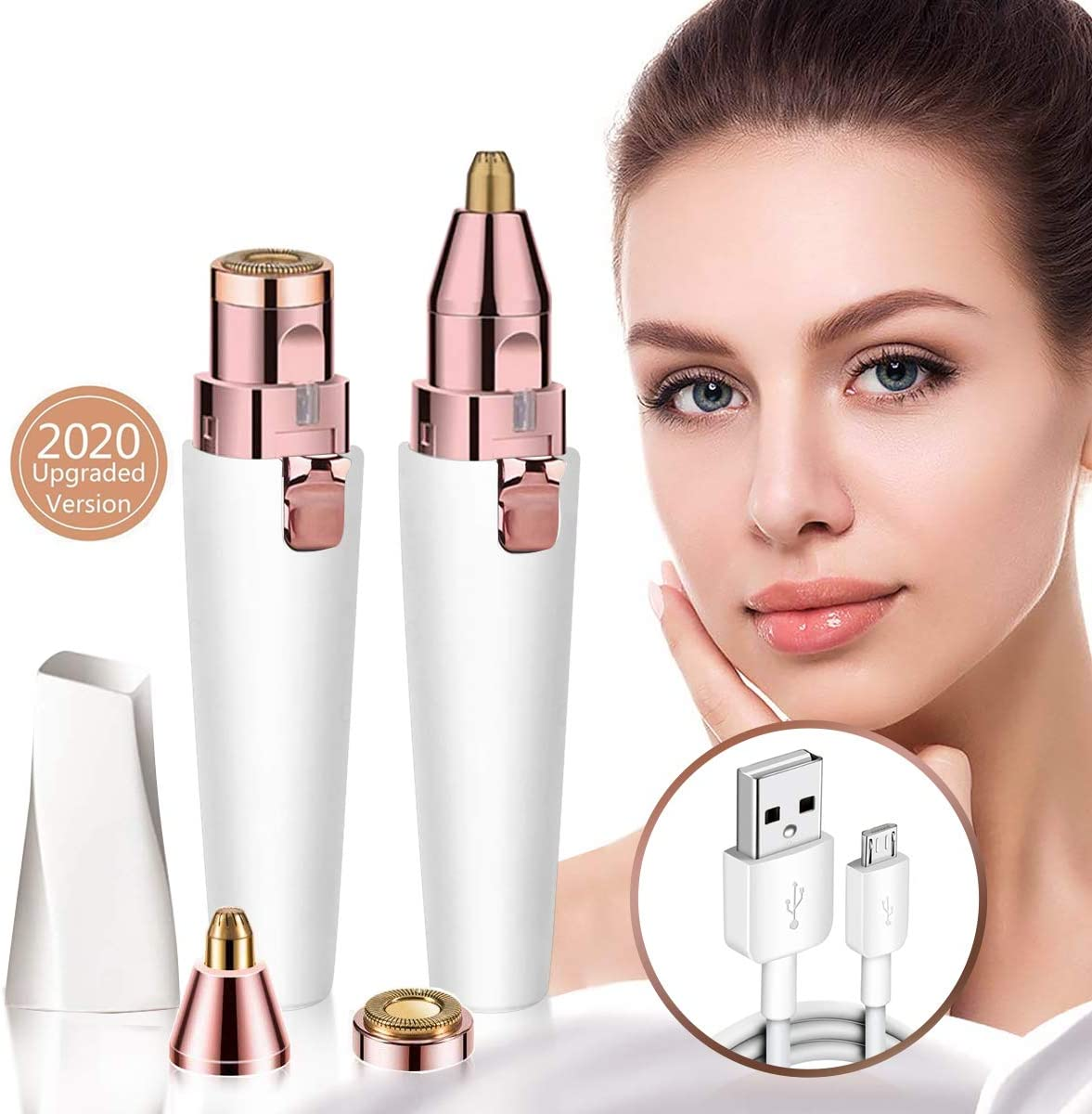 Rechargeable Eyebrow Trimmer & Facial Hair Remover for Women, 2 in 1 Eyebrow Razor and Painless Hair Remover, Electric Eyebrow Shaver with Light