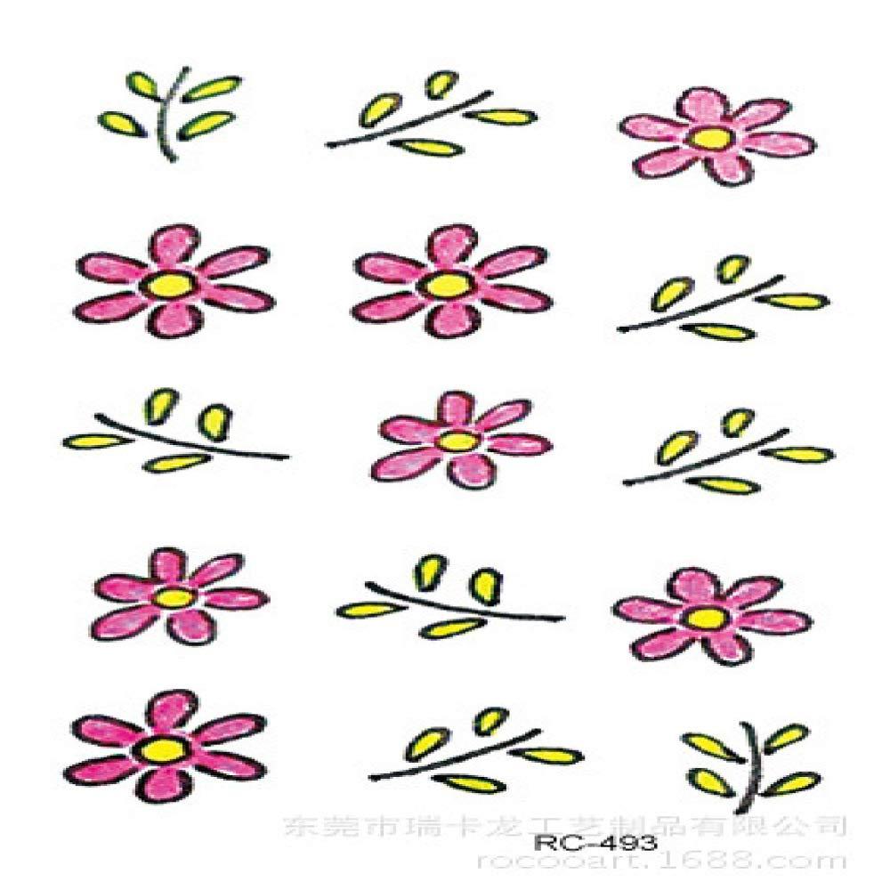 Color impermeable etiqueta engomada del tatuaje flor tatuaje ...
