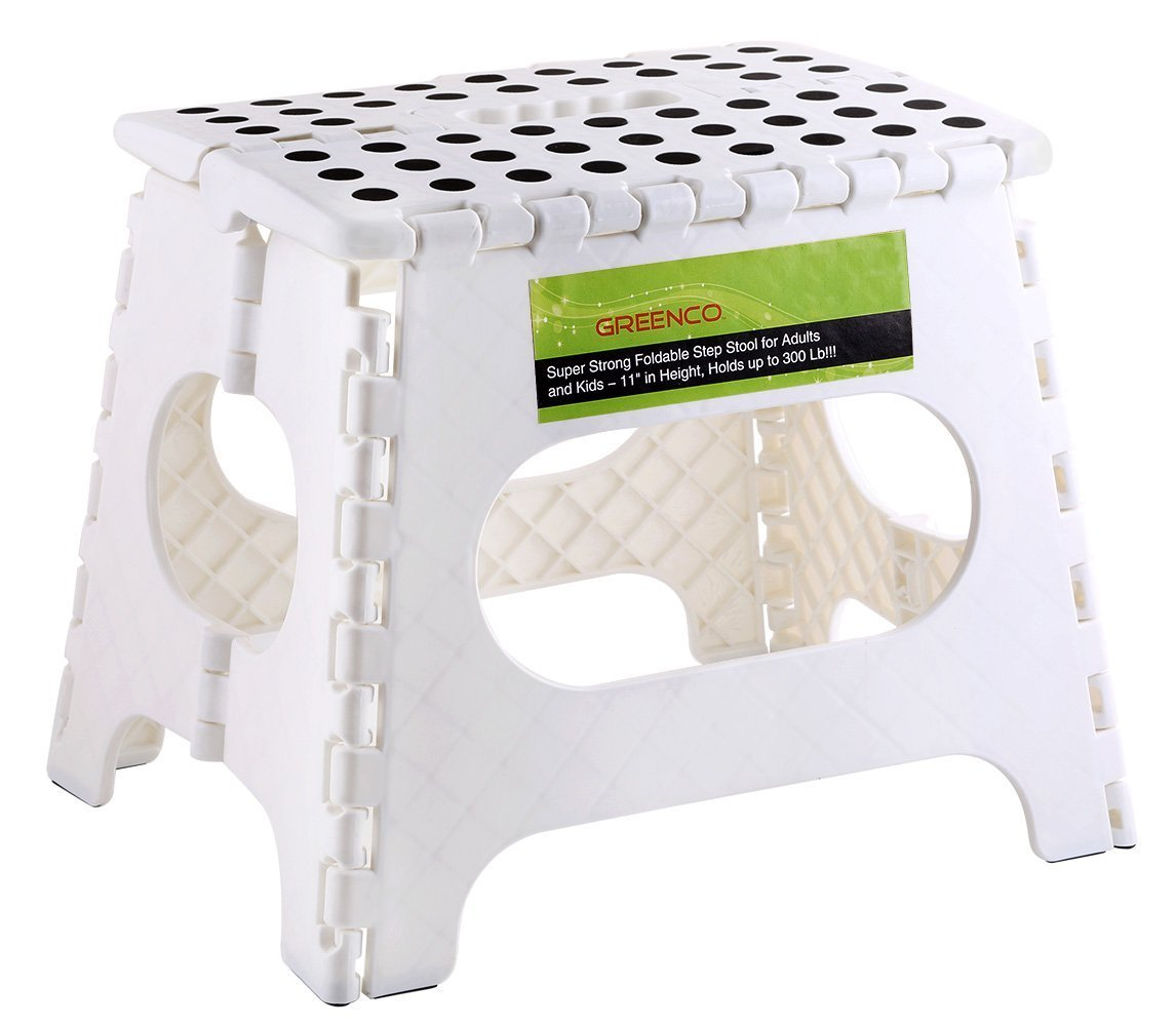 Greenco Super Strong Foldable Step Stool for Adults and Kids, 11'', White by Greenco