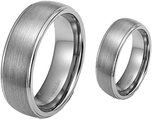 His /& Hers 8MM//6MM Two Tone Gold Shiny Center /& Beveled Edges Tungsten Carbide Wedding Band Ring Set