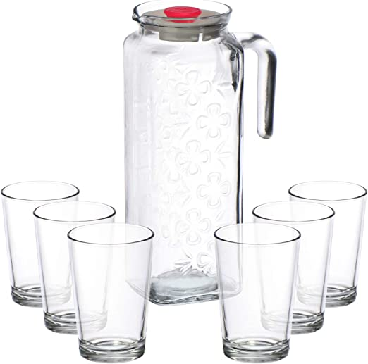 COM-FOUR® 7 piezas Juego de jarras de con jarra de vidrio en un ...