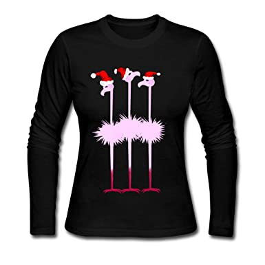 94b668c71 Spreadshirt Christmas Flamingos with Santa Hats Women's Long Sleeve Jersey T -Shirt, S,