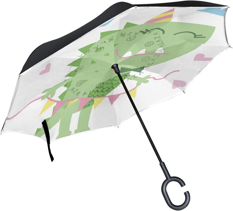 Reverse Umbrella Double Layer Inverted Umbrellas For Car Rain Outdoor With C-Shaped Handle Little Cute Mermaids Pattern Vector Image Personalized