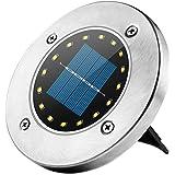 Kekailu Solar Disk Lights Outdoor 16 LED Bulbs Solar Ground Lights Outdoor Waterproof for Garden Yard Patio Pathway Lawn Driv