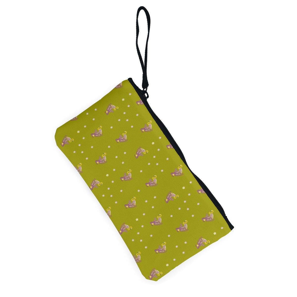 Flamingos,Tropical Leaves Pattern Canvas Coin Purse Cute Change Pouch Wallet Bag Multifunctional Cellphone Bag with Handle