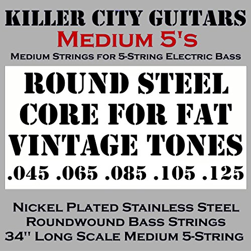 5 String Bass Strings (KCG Medium Bass Strings for 5-String Bass - Solid Core for Fat Vintage Tones Coupled with Nickel Plated Steel Winding for Enhanced Brightness and Warmth)