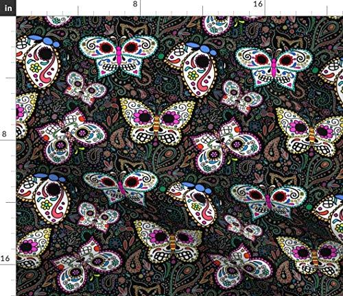 Spoonflower Butterflies Fabric - Mariposas Dia De Los Muertos Calavera Sugar Skull Day of The Dead Skull by Beesocks Printed on Petal Signature Cotton Fabric by The Yard ()