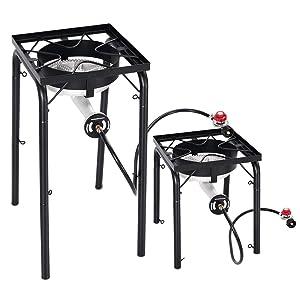 Giantex Portable Propane 200,000-BTU Single Burner Outdoor Stove Cooker Standing Camping Cooking Stove w/CSA Listed High Pressure Regulator, Hose, Adjustable Legs