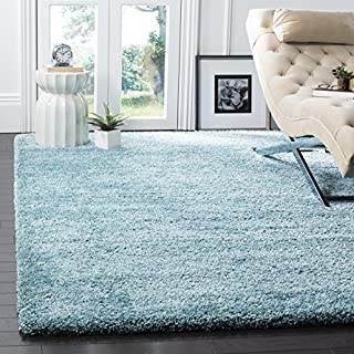 "Safavieh Milan Shag Collection SG180-6060 Aqua Blue Square Area Rug (5'1"" Square) (B00G4IQWWC) 