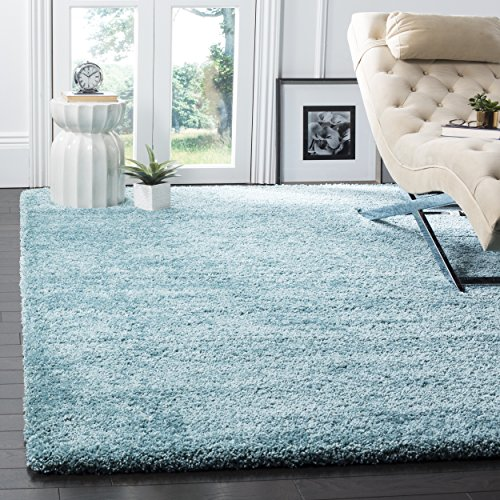 Safavieh Milan Shag Collection SG180-6060 Aqua Blue Square Area Rug (5'1