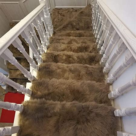 XOCKYE Alfombras para escaleras - Alfombrillas para peldaños Antideslizantes Adhesivas Amortigua Sonidos Antideslizante Rugs Lana Artificial Alfombra@Pasta de Frijoles_Los 85x24cm: Amazon.es: Hogar