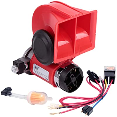 FARBIN Compact Air Horn with Compressor Snail Electric Car Horn 12V 150db Super Loud Nautilus Wiring Harness for Any 12V Vehicles (12V, red): Automotive