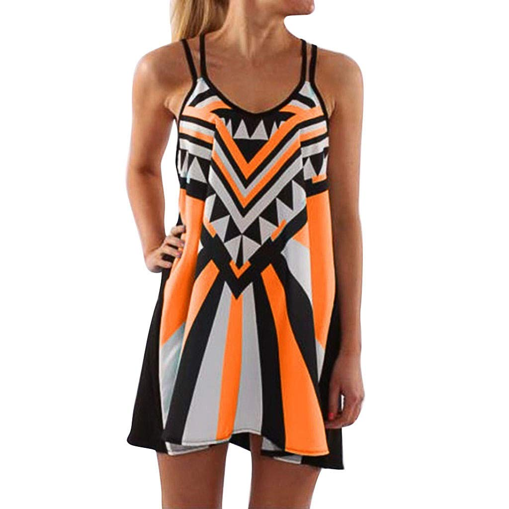 Womens Summer Dress Sleeveless Boho Geometric Print Mini Tank Dress Plus Size Beach Casual Sundress Short Dress (Orange, S)