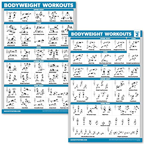QuickFit 2 Pack Bodyweight Workout Exercise Poster - Volume 1 & 2 (Laminated, 18