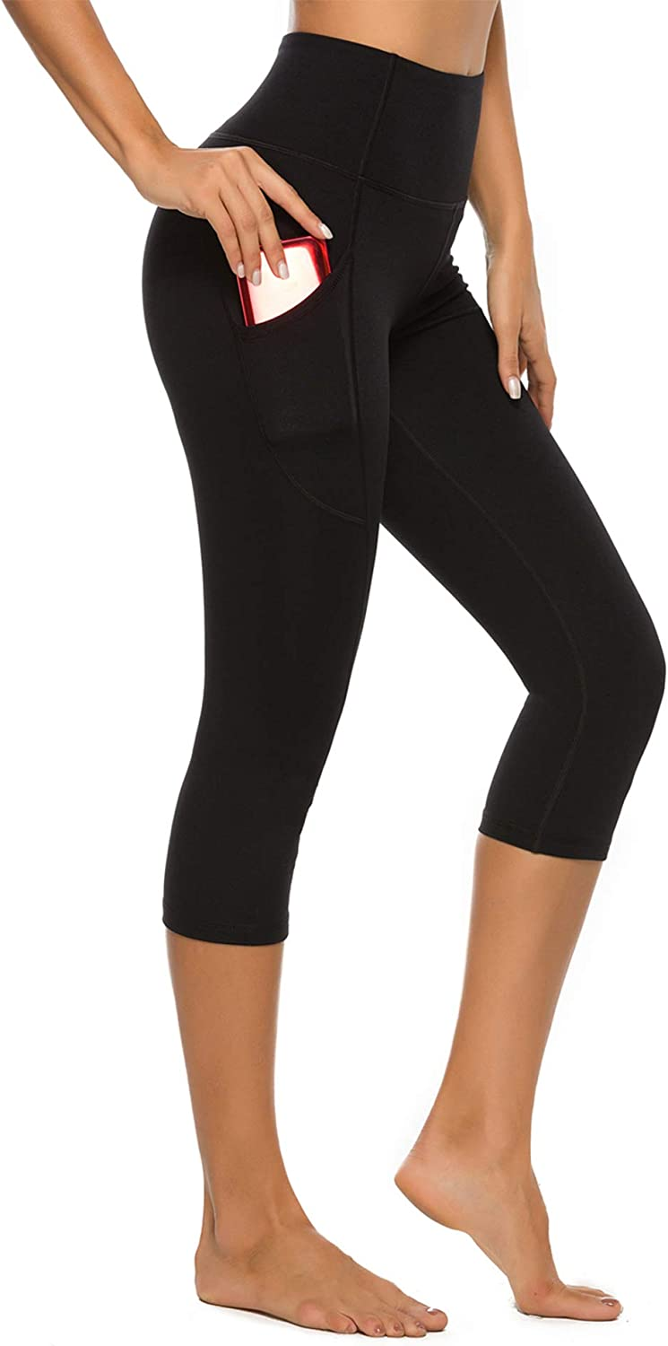STELLE Women's Capri Yoga Pants with Pockets High Waisted Legging for Gym Workout (Black, Large)
