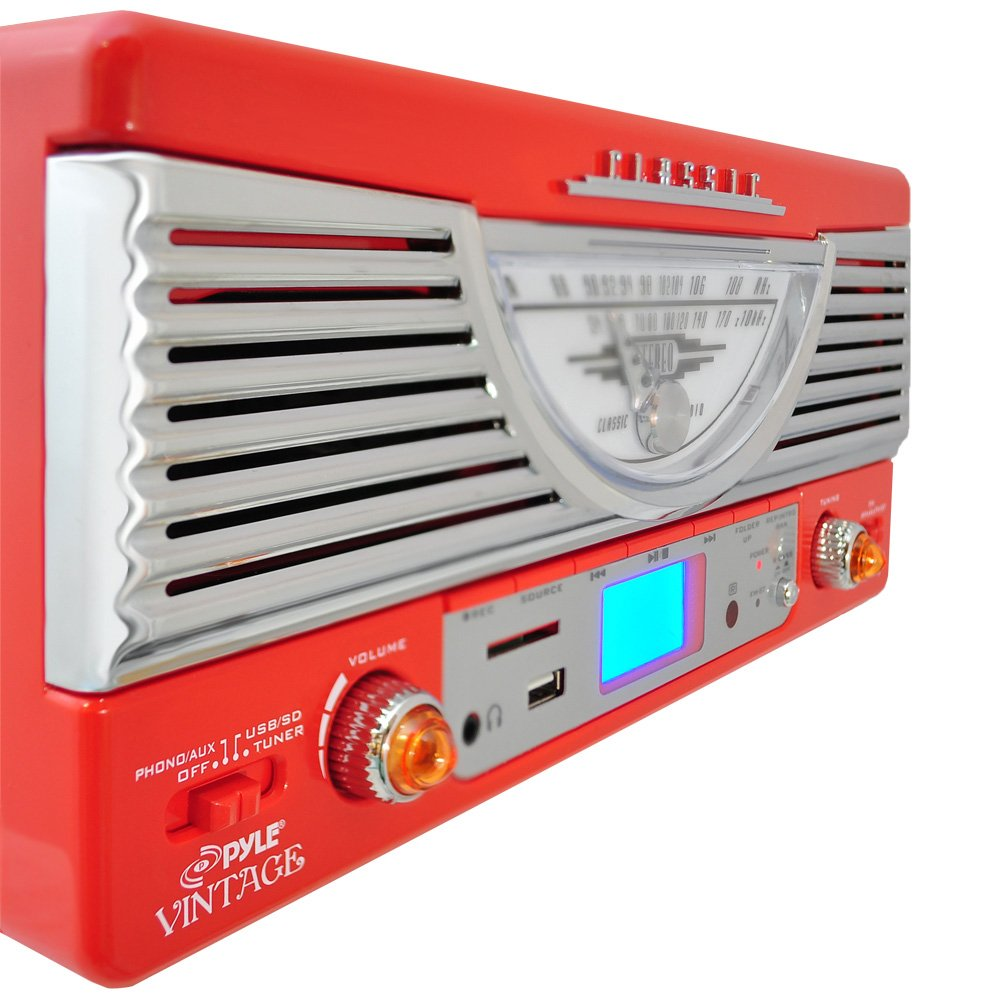 Pyle PTR8UR Retro Turntable with Vinyl-to-MP3 Encoding, USB & SD Memory Card Readers, AM/FM Radio, Aux (3.5mm) Input, MP3 Digital Audio File Playback (Red) by Pyle (Image #2)