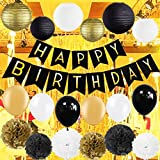 Kubert Black and Gold Party Decorations with Happy Birthday Banner for 18th, 21st, 30th, 40th, 50th, 60th, 75th, 80th Birthday