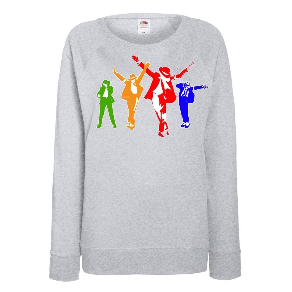 Womens Funny Sweatshirt-Michael Jackson Coloured Silhoutte-Funny Gifts-Tshirt