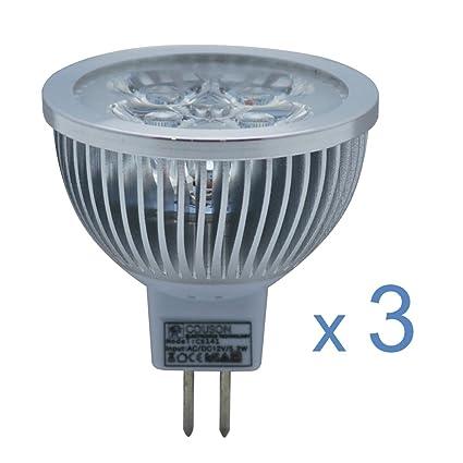 3 x Bombilla LED MR16 5W Foco Luz Blanco Cálido AC 12V